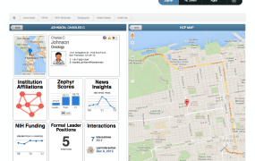 Zephyr Health's Voyager application for viewing physician profiles.