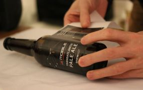 A bottle of Mobile World Congress's official beer from BrewBot