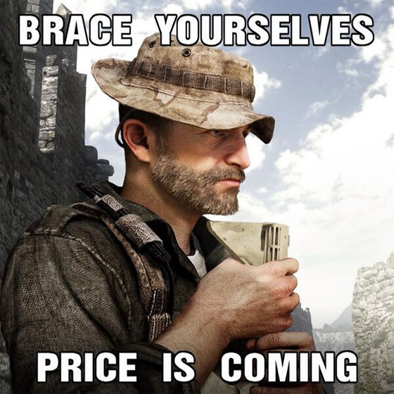 Captain Price starred in Infinity Ward's Modern Warfare games and is now making an appearance in Ghosts.