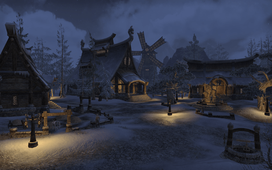 The town center of Bleakrock Isle, a snowy island in The Elder Scrolls.