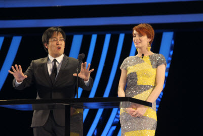 Freddie Wong and Felicia Day at Dice Awards in Las Vegas