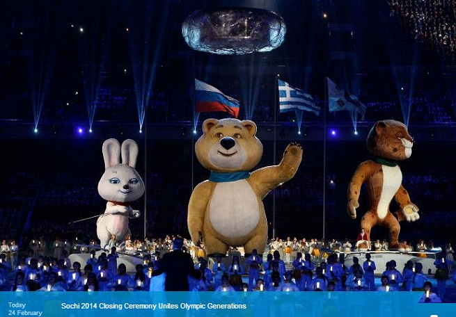 The big bear put out the Olympic flame in Sochi.