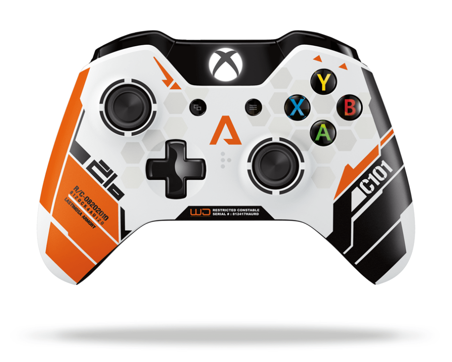 An Xbox One controller with Titanfall stylings.
