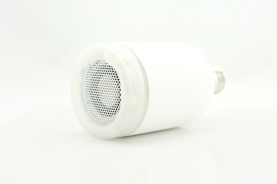 The AirBulb combines a 3-watt Bluetooth speaker with a remote-controllable LED light.