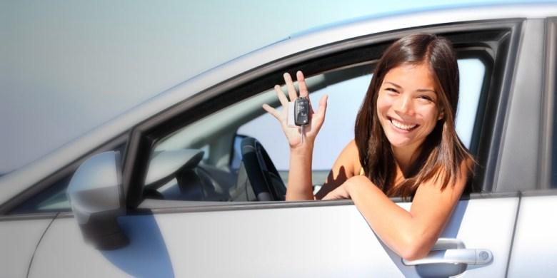 breeze girl car smiling