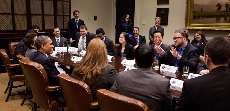 President Barack Obama meets with Presidential Innovation Fellows in the Roosevelt Room.