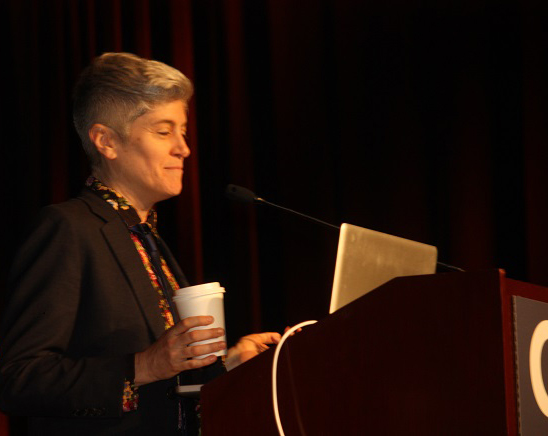 Associate Professor Colleen Macklin of Parsons: The New School delivers her talk at the #!ReasonToBe panel at the 2014 Game Developers Conference.
