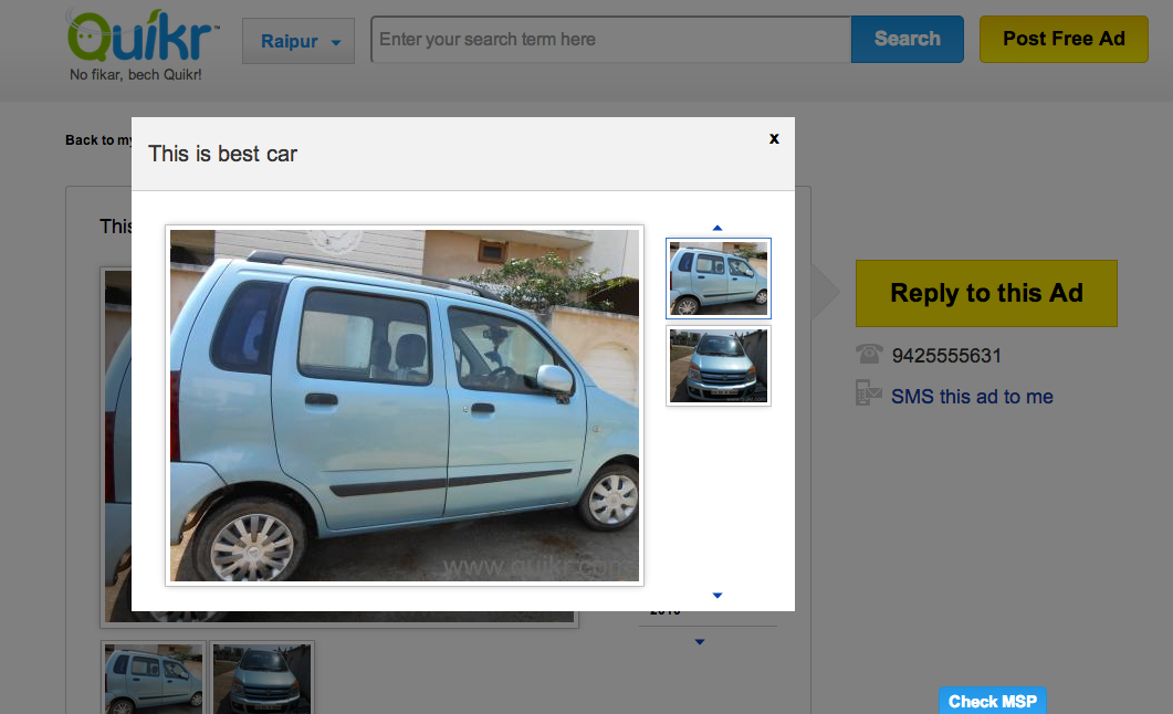 """A listing for the """"best car"""" on Quikr."""