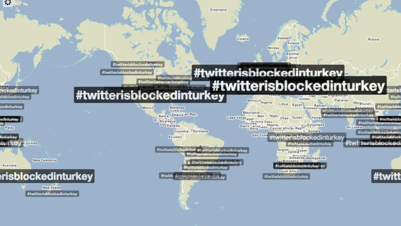 Usage of the #twitterisblockedinturkey hashtag according to Trendsmap