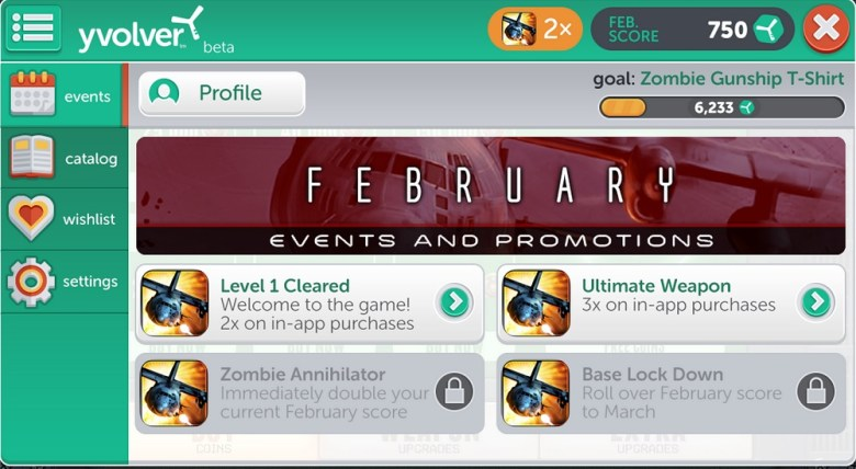 Yvolver brings loyalty rewards to games. It is shown here with Limbic's Zombie Gunship Zero game.