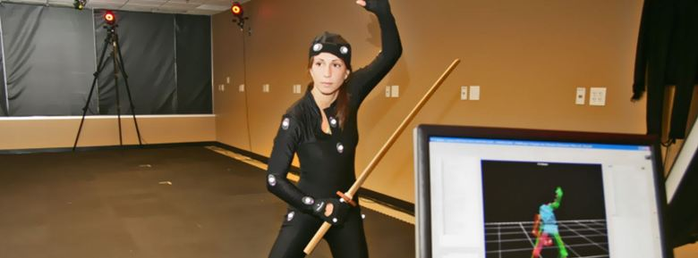 A motion-capture actor working in one of Atlanta's game studios.