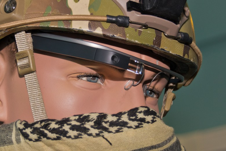 Airforce test dummy wearing Google Glass