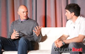 Brendon Kraham, left, director of emerging ad sales and product strategy at  Google, speaks to Omar Hamoui, a partner at Sequoia Capital, at VentureBeat's Mobile Summit in Sausalito, Calif., on April 15.