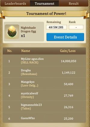Dragons of Atlantis tournament screen where an alleged hacker won