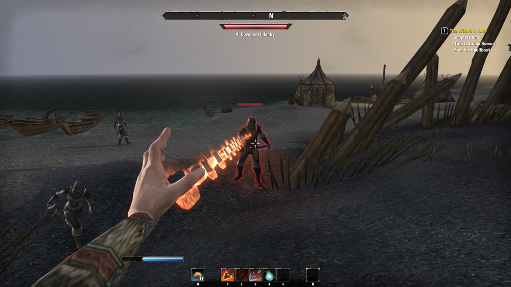 A picture of a firey chain leaping from a player character's hand, and hooking into an enemy.