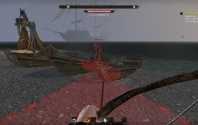 A first person perspective picture of an enemy character aiming a bow at the player, with a red triangle reaching out over the ground from the enemy towards the player.