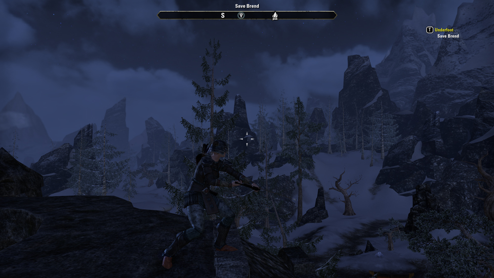 A third-person camera shot of a character in The Elder Scrolls Online, standing on a cliff and overlooking a snow-covered valley.