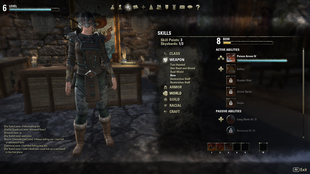 A picture of the skills screen in The Elder Scrolls Online. The character appears on the left side of the screen, and a series of skill charts are on the right.