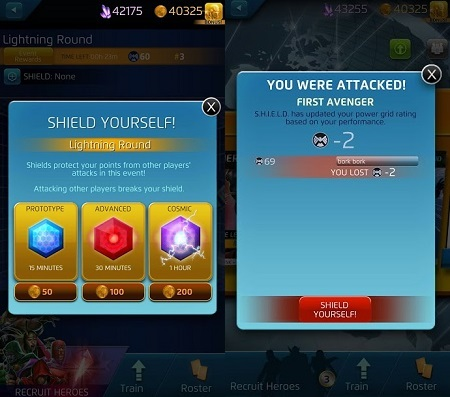[Left] The UI for purchasing shields.. [Right] Players who lose in Versus are breadcrumbed into the Shield mechanic.