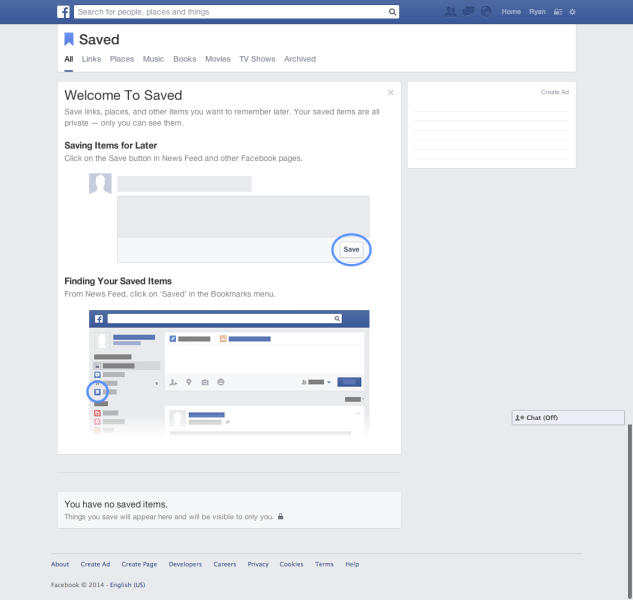 """Facebook's new """"Saved posts"""" queue. If you have it, you'll find it at facebook.com/saved"""