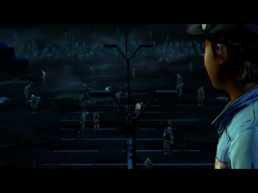 Clementine spies a herd of walkers.