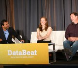 Mindjet data scientist Anna Gordon at VentureBeat's DataBeat conference (center), sitting between Intel Capital managing director Dharmesh Thakker (left) and Looker CEO Frank Bien (right).
