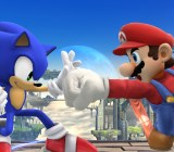 Mario and Sonic duking it out.