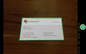 Scanning a business card with Evernote's iPad app