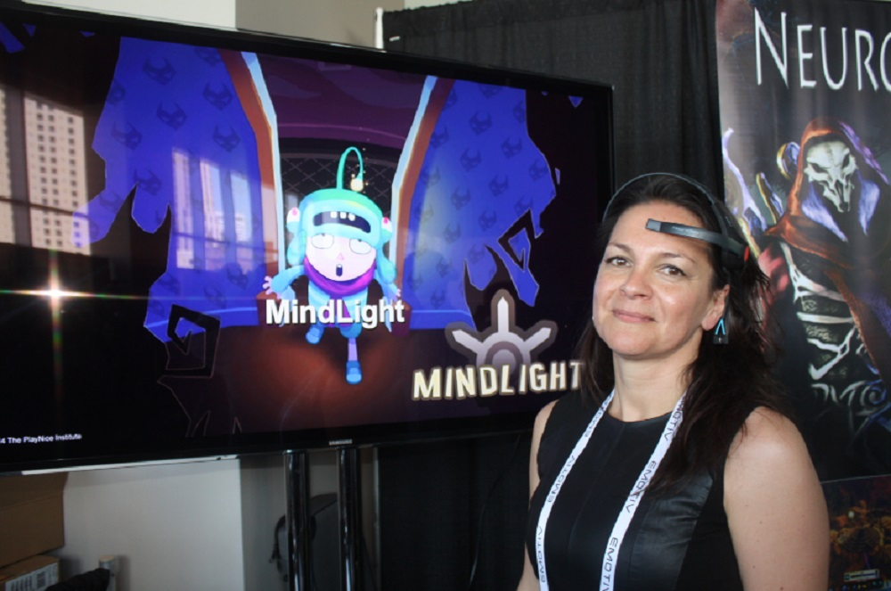 Isabela Granic showed off Mindlight, a game where children learn to stay calm in order to conquer fears and video game enemies.