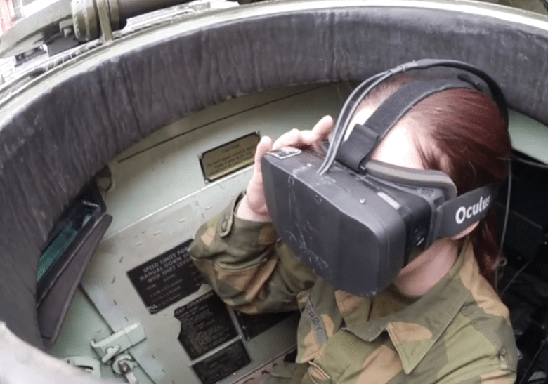 Testing out the Oculus VR in  a Norwegian army tank.