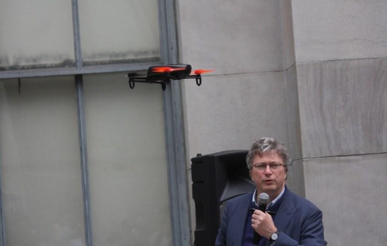 Parrot Bepop and Parrot CEO Henri Seydoux