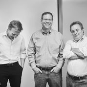 Prelert chief executive Mark Jaffe (center) and other company executives.