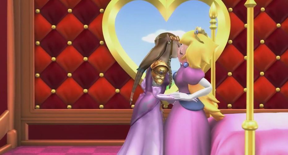 Princess Peach and Zelda celebrate Nintendo's expanding views on gay marriage.
