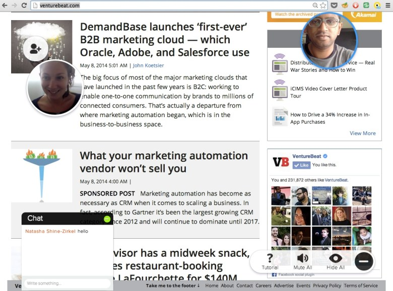 Rounds Live video chat running on top of VentureBeat's homepage