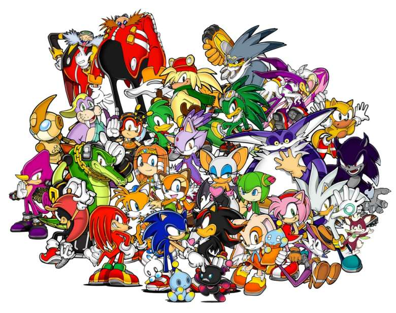 The colorful and crowded cast of Sonic characters.
