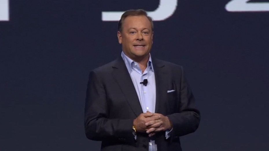 Jack Tretton on the stage during Sony's 2013 E3 media briefing.