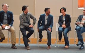 Target.com SVP Jason Goldberger with Liew, Agarwal, Chang, and Yagan
