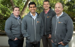 "From left, StackStorm principal architect Michael Richmond; ""Stormer"" Manas Kelshikar; co-co-founder and chief technology officer Dmitri Zimine; and co-founder and chief executive Evan Powell."