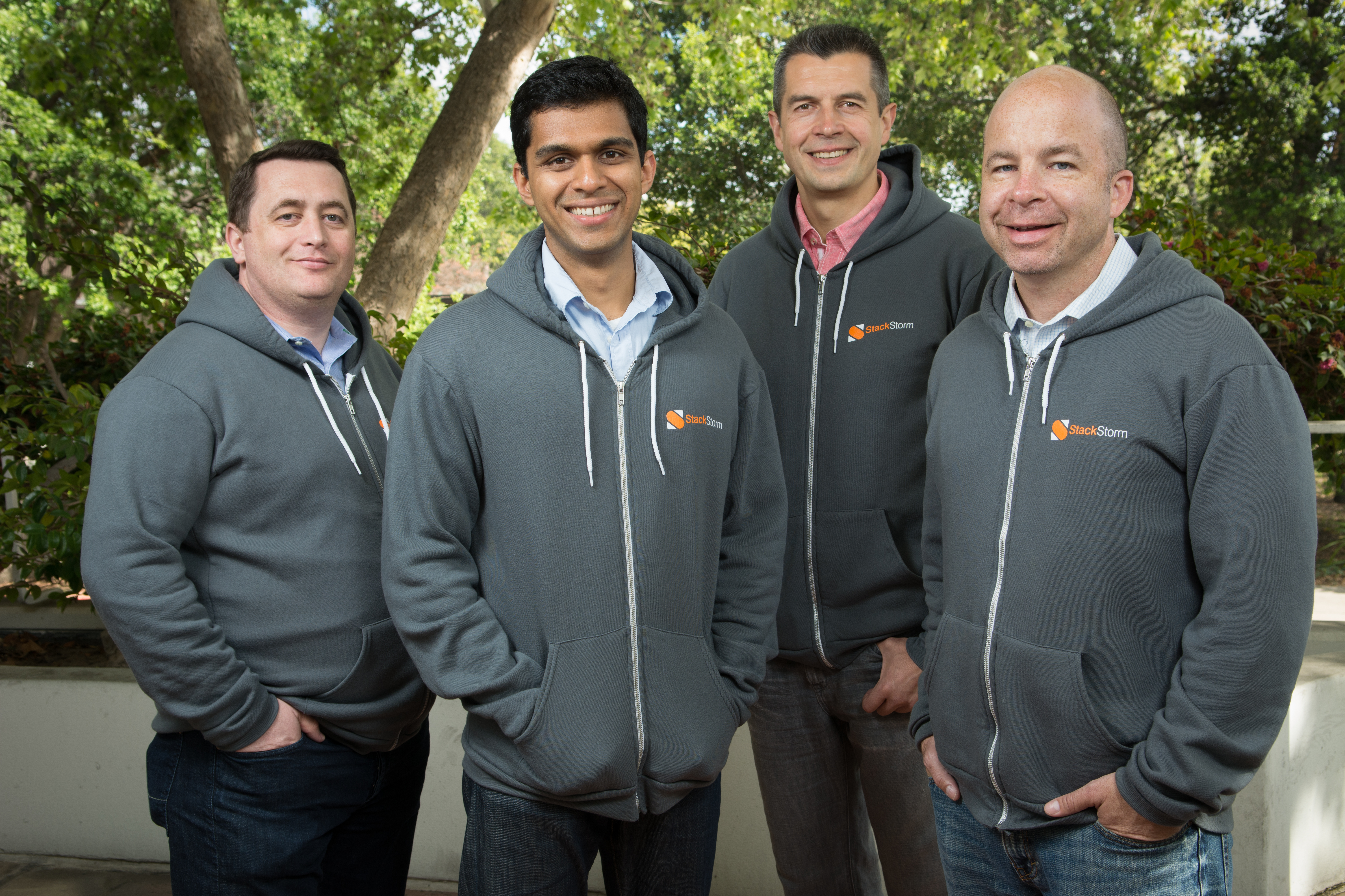 """From left, StackStorm principal architect Michael Richmond; """"Stormer"""" Manas Kelshikar; co-co-founder and chief technology officer Dmitri Zimine; and co-founder and chief executive Evan Powell."""