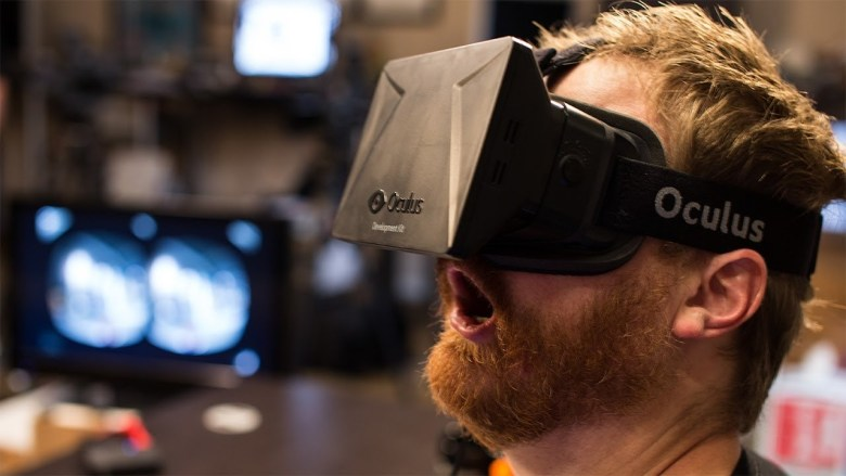 A man enjoying himself with Oculus Rift.