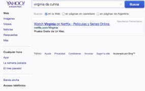 Search results are blank for entertainer Virginia Da Cunha