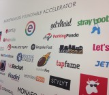 Entrepreneurs Roundtable Accelerator's wall of fame.