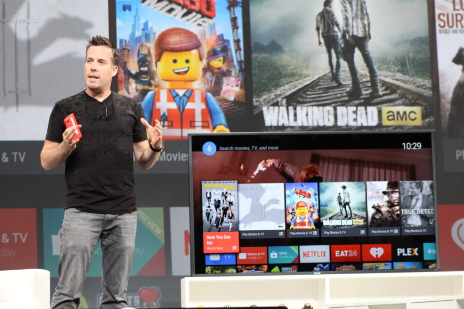 Dave Burke, Google's director of engineering, shows off Android TV