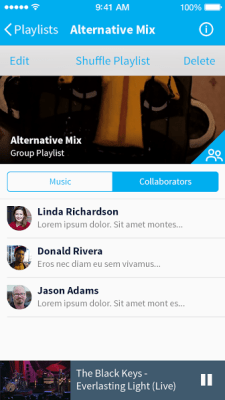A screenshot of Musx's new group playlist feature.