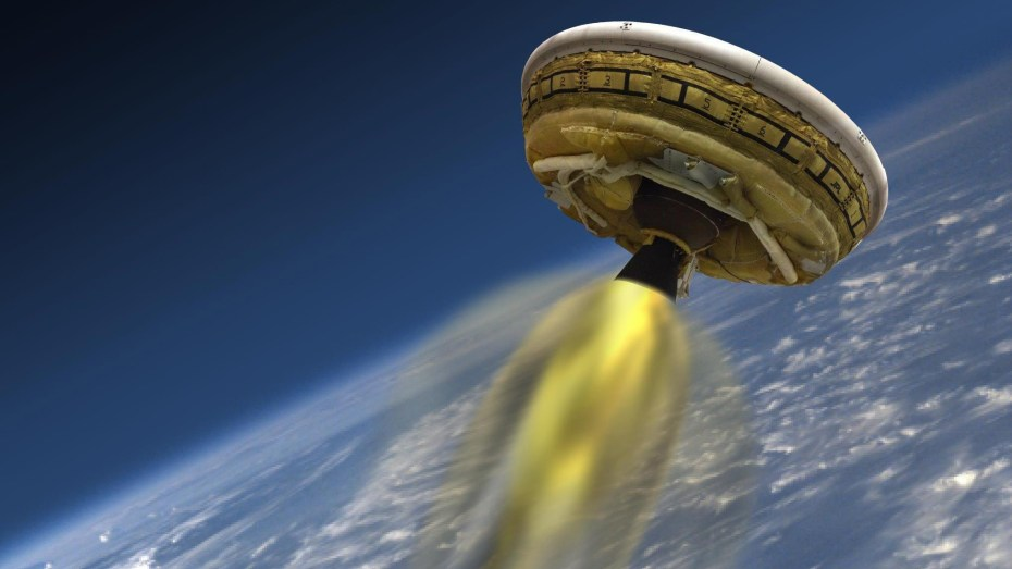 "A rendering of NASA's ""flying saucer"" craft."