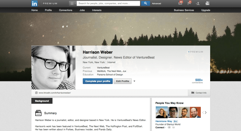 The new, image-centric LinkedIn profile