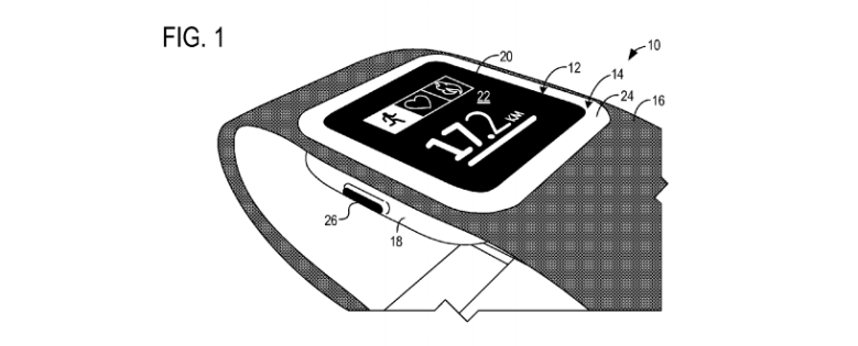 Above: Drawing of the Microsoft smartwatch from the patent application.