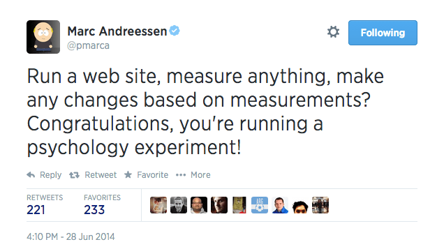 Investor Marc Andreessen defends Facebook's experiments on users' moods.