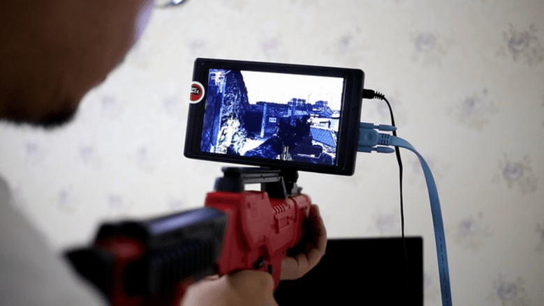 A tablet on a gun? I'll finally have something to do when I use the bathroom!