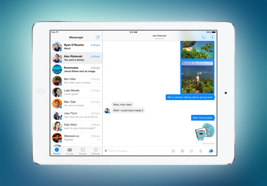 Facebook Messenger is now optimized for Apple's iPad.
